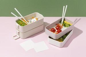 el surtido de cajas bento japonesas foto