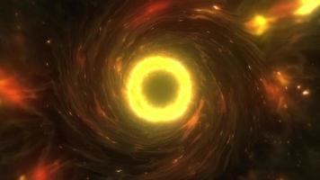 Luminous swirling orange plasma cloud to blackhole loop video