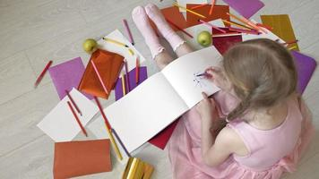 A Little Girl Drawing a Picture video