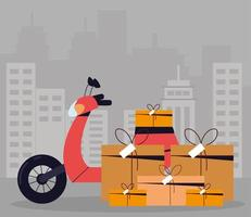 delivery motorcycle and boxes vector