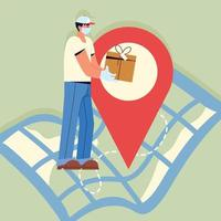 delivery man and parcel vector