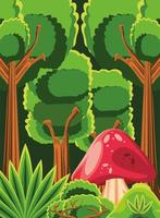 forest, fungus and trees vector