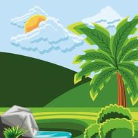 landscape, hills and palm vector