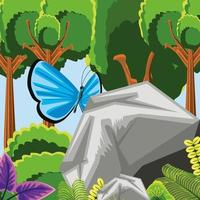 forest trees and butterfly vector