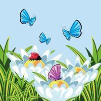 landscape, butterflies and grass vector