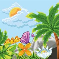 landscape, flowers and butterflies vector