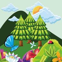 forest with flowers and insects vector