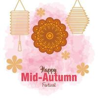 chinese mid autumn festival with mooncake, flowers and lanterns hanging vector