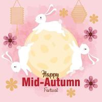 chinese mid autumn festival with rabbits, full moon, flowers and lanterns hanging vector