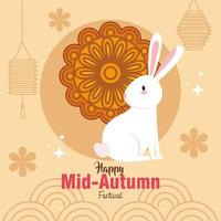 chinese mid autumn festival with mooncake, rabbit and decoration vector