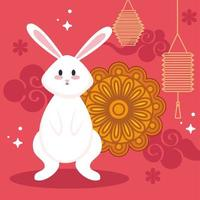 chinese mid autumn festival with rabbit, mooncake, flowers lanterns hanging and clouds vector