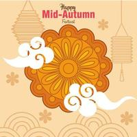 chinese mid autumn festival with mooncake and decoration vector