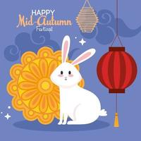chinese mid autumn festival with rabbit, mooncake, lanterns hanging and clouds vector