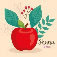 rosh hashanah celebration, jewish new year, with red apple and leaves decoration vector