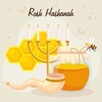 rosh hashanah celebration, jewish new year, with bottle honey, chandelier and decoration vector