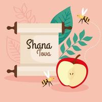 rosh hashanah celebration, jewish new year, with apple, leaves and bees flying vector