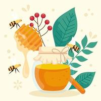 rosh hashanah celebration, jewish new year, with bottle honey, leaves and bees flying vector