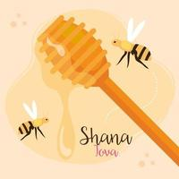 rosh hashanah celebration, jewish new year, with wooden stick of honey and bees flying vector
