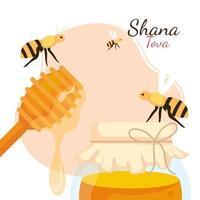 rosh hashanah celebration, jewish new year, with bees flying, bottle and stick wooden of honey vector