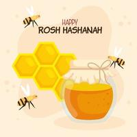 rosh hashanah celebration, jewish new year, with bottle honey, honeycomb and bees flying vector