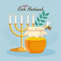 rosh hashanah celebration, jewish new year, with bottle honey, chandelier and bee flying vector
