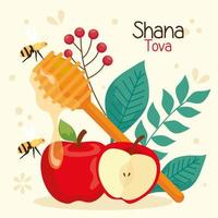 rosh hashanah celebration, jewish new year, with apples and decoration vector