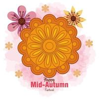 chinese mid autumn festival with mooncake and flowers decoration vector