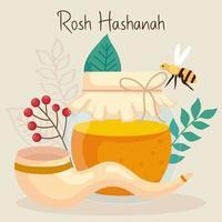 rosh hashanah celebration, jewish new year, with bottle honey and decoration vector
