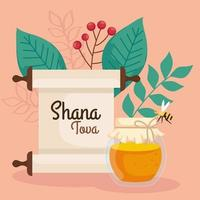 rosh hashanah celebration, jewish new year, with bottle honey, bee flying and leaves decoration vector