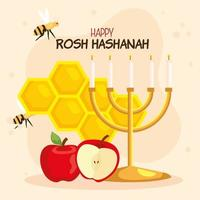 rosh hashanah celebration, jewish new year, and apples with decoration vector