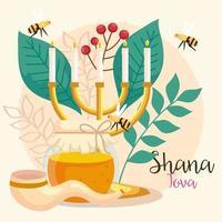 rosh hashanah celebration, jewish new year, with chandelier, bottle honey and decoration vector