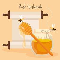 celebración de rosh hashaná, año nuevo judío, con botella de miel y abejas volando vector