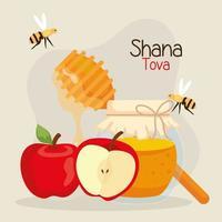 celebración de rosh hashaná, año nuevo judío, con miel de botella, manzanas y abejas volando vector