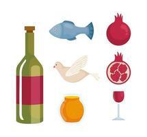 set icons of rosh hashanah celebration, jewish new year vector