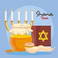 celebración de rosh hashaná, año nuevo judío, con botella de miel y decoración vector