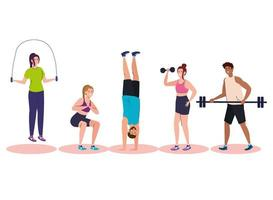 group young people practicing exercise, sport recreation concept vector