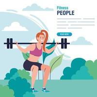 banner, woman doing squats with weight bar outdoor, sport recreation exercise vector
