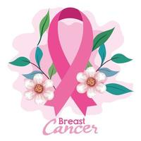 pink ribbon, symbol of world breast cancer awareness month in october, with flowers and leaves decoration vector
