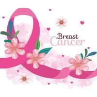 pink ribbon, symbol of world breast cancer awareness month in october, with hearts, flowers and leaves decoration vector
