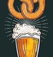 oktoberfest festival celebration with beer glass and pretzel vector