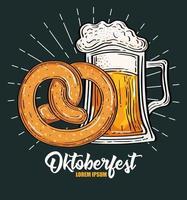 oktoberfest festival celebration with jar beer and pretzel vector