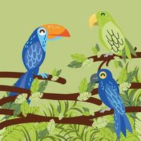 tropical parrots in the branch vector