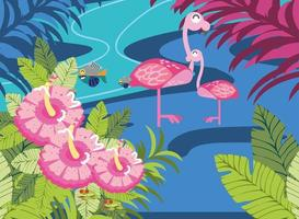 flamingo and fishes in the river vector