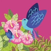 colibrí en las flores y hojas. vector