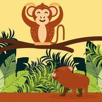 monkey and tapir in the leaves vector