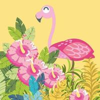 flamingo in the flowers and leaves vector