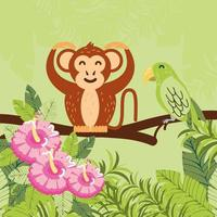 monkey, flowers and leaves vector