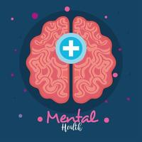 mental health concept, with brain, positive mind vector