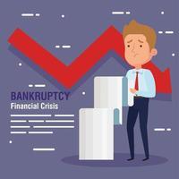 Banner crisis financiera de quiebra, con empresario, comprobante de recibo y flecha hacia abajo vector
