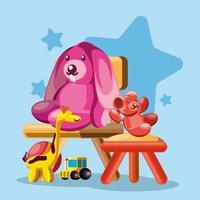 rabbit and bear toys vector